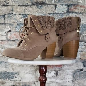 Charlotte Russe Stacked Heel Knit Ankle Boot 7